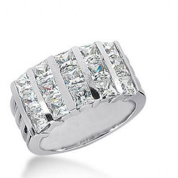 14k Gold Diamond Anniversary Wedding Ring 15 Princess Cut Stones Total 3.00ctw 510WR206414k