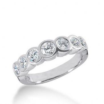 14k Gold Diamond Anniversary Wedding Ring 7 Round Brilliant Diamonds Total 0.86ctw 514WR207814k