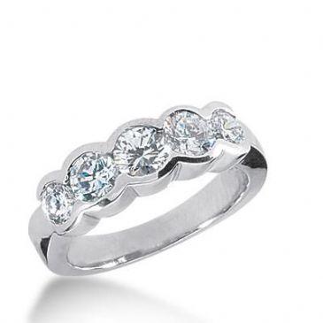 14k Gold Diamond Anniversary Wedding Ring 5 Round Brilliant Diamonds Total 1.35ctw 515WR207914k