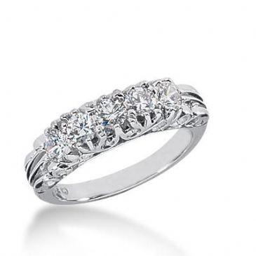 14k Gold Diamond Anniversary Wedding Ring 5 Round Brilliant Diamonds Total 0.75ctw 519WR208414k