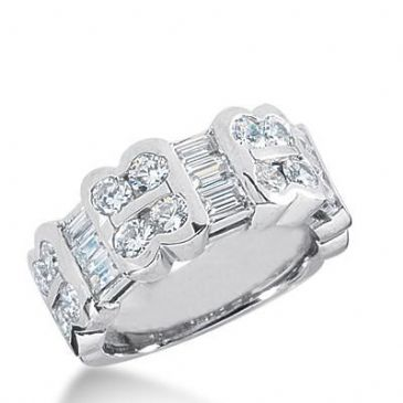 14k Gold Diamond Anniversary Wedding Ring 16 Round Stone, 9 Straight Baguette Total 2.50ctw 521WR208914k