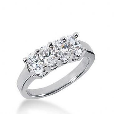 14k Gold Diamond Anniversary Wedding Ring 4 Oval Cut Diamonds Total 1.32ctw 525WR209814k