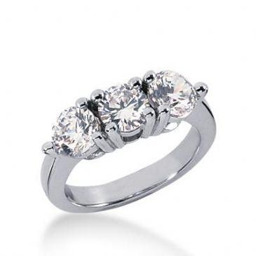 14k Gold Diamond Anniversary Wedding Ring 3 Round Brilliant Diamonds Total 2.25ctw 527WR210514k