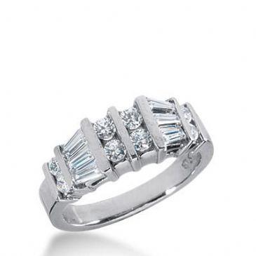 14k Gold Diamond Anniversary Wedding Ring 6 Tapered Baguette, 8 Round Brilliant Diamonds Total 1.00ctw 528WR210714k
