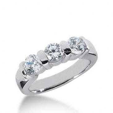 14k Gold Diamond Anniversary Wedding Ring 3 Round Brilliant Diamonds Total 1.05ctw 539WR212714k