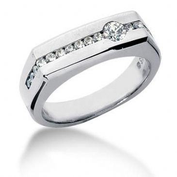 Men's Diamond Ring 15 Side Round Stone 0.02 ctw 1  Round Stone 0.50ctw