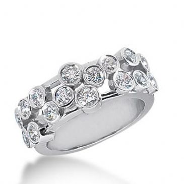 14k Gold Diamond Anniversary Wedding Ring 16 Round Brilliant Diamonds Total 1.07ctw 543WR213414k