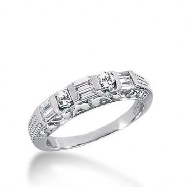 14k Gold Diamond Anniversary Wedding Ring 2 Round Brilliant Diamonds, 6 Straight Baguette Stones Total 0.50ctw 547WR213814k