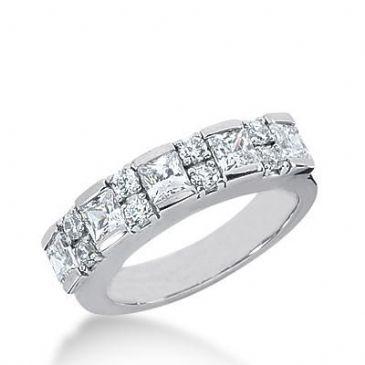 14k Gold Diamond Anniversary Wedding Ring 5 Princess Cut Stones, 8 Round Brilliant Diamonds Total 1.67ctw 562WR225414k