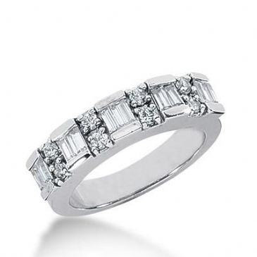 14k Gold Diamond Anniversary Wedding Ring 10 Straight Baguette, 8 Round Brilliant Diamonds Total 0.74ctw 563WR225514k