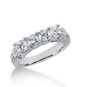 14k Gold Diamond Anniversary Wedding Ring 10 Round Brilliant Diamonds Total 1.09ctw 564WR228514k