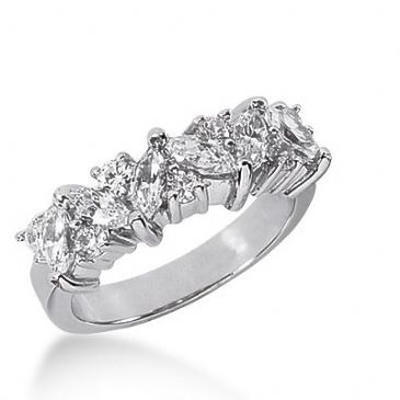 14k Gold Diamond Anniversary Wedding Ring 6 Marquise Cut Stones, 7 Round Brilliant Diamonds Total 1.85ctw 574WR230814k