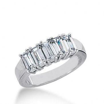 14k Gold Diamond Anniversary Wedding Ring 5 Straight Baguette Diamonds Total 1.50ctw 577WR231514k