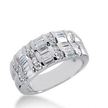 14k Gold Diamond Anniversary Wedding Ring 18 Straight Baguette Stones, and 16 Round Brilliant Diamonds Total 1.38ctw 578WR231614k