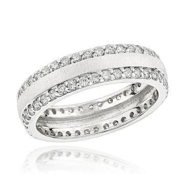 14K Gold & 1.35 Carat Round Diamond Designer Eternity Ring