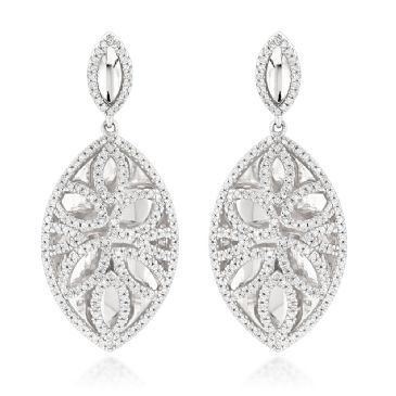 14K Gold & 1.36 Carat Diamond Designer Drop Earrings