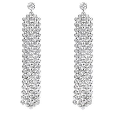 14K Gold & 5 Carat Diamond Designer Waterfall Drop Earrings for Women