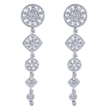 14K Gold & 6.96 Carat Diamond Cascade Dangle Drop Earrings