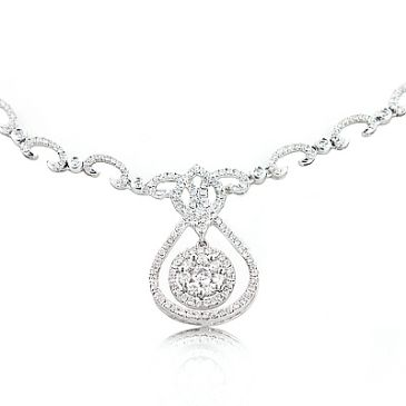 14K Gold Diamond Drop Necklace for Ladies