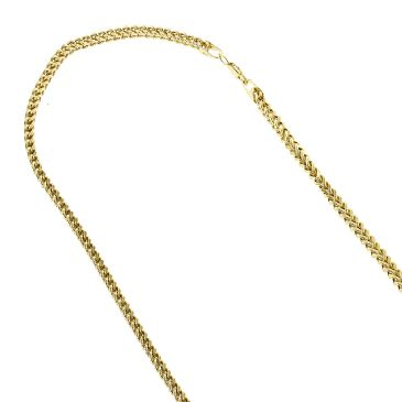 14K Hollow Gold Square Franco Chain for Men & Women 3mm