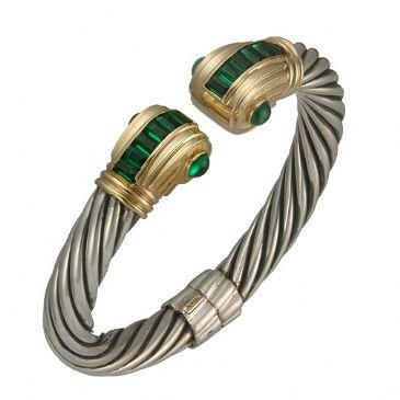14K Two Tone Almani Roman Vintage Design Handmade Bangle Set With Emerald Stones