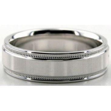 18K Gold 6mm Diamond Cut Wedding Band 654