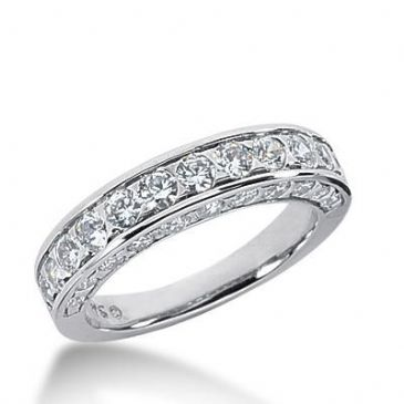 14k Gold Diamond Anniversary Wedding Ring 34 Round Brilliant Diamonds Total 1.54ctw 579WR231914k