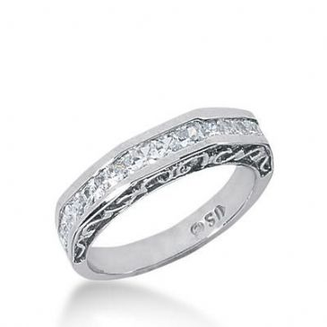 14k Gold Diamond Anniversary Wedding Ring 15 Princess Cut Stones Total 0.75ctw 580WR232014k