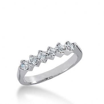 14k Gold Diamond Anniversary Wedding Ring 6 Princess Cut Stones Total 0.36ctw 584WR232814k