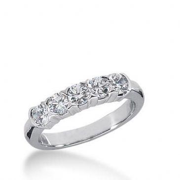 14k Gold Diamond Anniversary Wedding Ring 5 Round Brilliant Diamonds Total 0.75ctw 585WR232914k