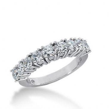 14k Gold Diamond Anniversary Wedding Ring 7 Round Brilliant Diamonds Total 0.99ctw 589WR234114k