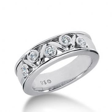 14k Gold Diamond Anniversary Wedding Ring 5 Round Brilliant Diamonds Total 0.30ctw 594WR234714k
