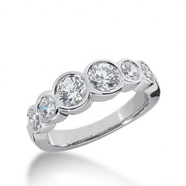 14k Gold Diamond Anniversary Wedding Ring 6 Round Brilliant Diamonds Total 1.50ctw 596WR234914k