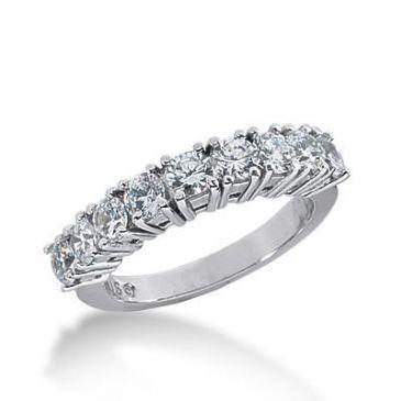 14k Gold Diamond Anniversary Wedding Ring 9 Round Brilliant Diamonds Total 1.35ctw 598WR235114k