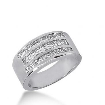 14k Gold Diamond Anniversary Wedding Ring 10 Straight Baguette, and 20 Princess Cut Stones Total 1.60ctw 601WR235514k