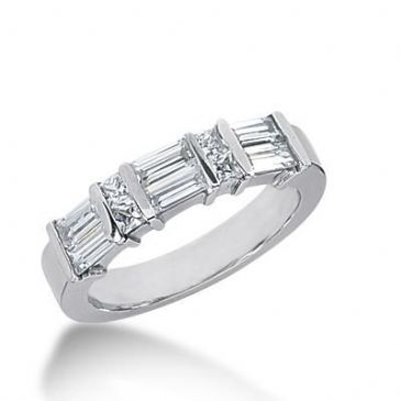 14k Gold Diamond Anniversary Wedding Ring 4 Princess Cut Stones, and 6 Straight Baguette Diamonds Total 0.96ctw 603WR235714k