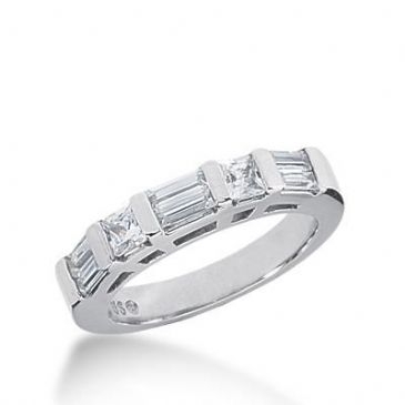 14k Gold Diamond Anniversary Wedding Ring 2 Princess Cut Stones, 6 Straight Baguette Diamonds Total 0.88ctw 604WR235814k