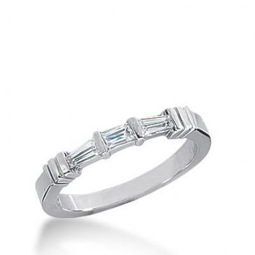 Diamond Wedding Ring 1 Straight Baguette 0.14 ct 2 Tapered Baguette 0.08 ct Total 0.30 ctw. 611WR237114k