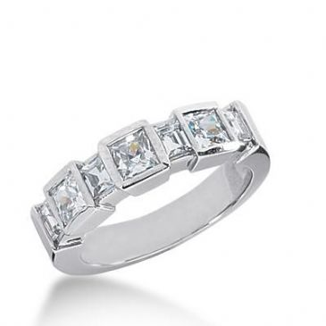 14k Gold Diamond Anniversary Wedding Ring 3 Princess Cut, 4 Straight Baguette Diamonds Total 1.68ctw 614WR237814k