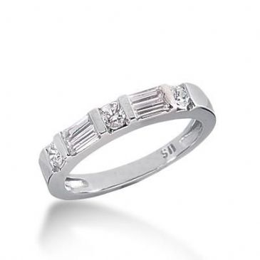 14K Gold Diamond Anniversary Wedding Ring 4 Straight Baguette, and 2 Round Brilliant Diamonds Total 0.57ctw 617WR238314k