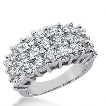 14K Gold Diamond Anniversary Wedding Ring 27 Round Brilliant Diamonds Total 3.54ctw 619WR238714k