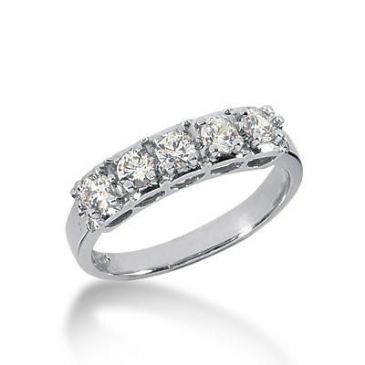 14K Gold Diamond Anniversary Wedding Ring 5 Round Brilliant Diamonds Total 0.50ctw 621WR238914k