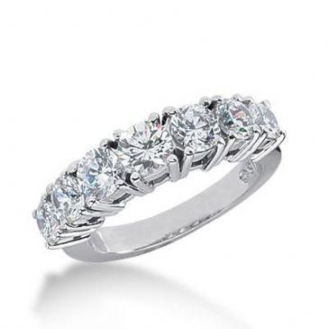 14K Gold Diamond Anniversary Wedding Ring 7 Round Brilliant Diamonds Total 1.95ctw 623WR239314k