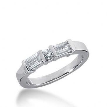 14K Gold Diamond Anniversary Wedding Ring 4 Straight Baguette Stones, and 1 Round Brilliant Diamond Total 0.43ctw 626WR240114k