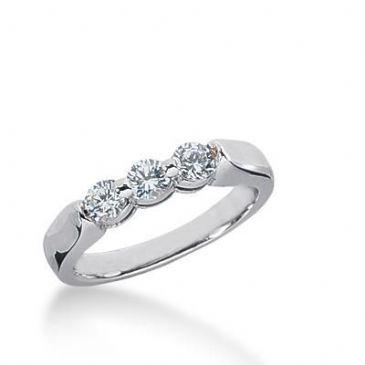 14K Gold Diamond Anniversary Wedding Ring  3 Round Brilliant Diamonds Total 0.45ctw 628WR240314k