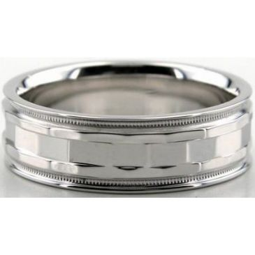 18K Gold 7mm Diamond Cut Wedding Band 630