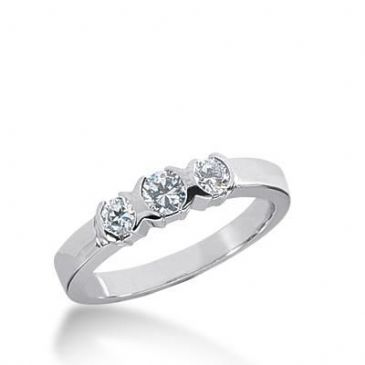 14K Gold Diamond Anniversary Wedding Ring 3 Round Brilliant Diamonds Total 0.40ctw 629WR240414k