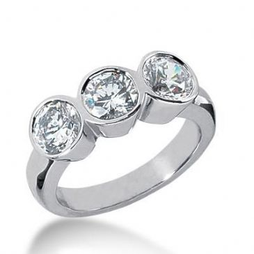 14K Gold Diamond Anniversary Wedding Ring 3 Round Brilliant Diamonds Total 1.80ctw 630WR240514k