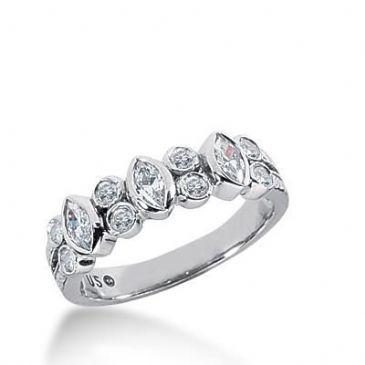 14K Gold Diamond Anniversary Wedding Ring 3 Marquise Cut Diamonds,  8 Round Brilliant Diamonds Total 0.62ctw 631WR240814k