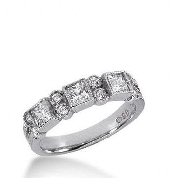 14K Gold Diamond Anniversary Wedding Ring 3 Princess Cut Stones, and 8 Round Brilliant Diamonds Total 0.80ctw 632WR241014k